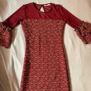 Ruffle Sleeve Party Dress (Burgundy)